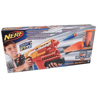 NERF A8494 N-Strike 2in1 Demolisher Dart Gewehr Softdart Blaster Darts + Raketen