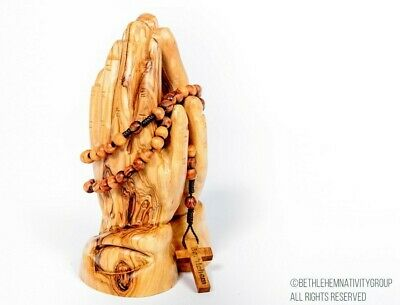 Stunning Hand Carved Olive Wood Praying Hands With A Free Rosary Beads..