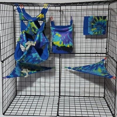 Splotched Tie Dye  * 6 piece Sugar Glider Cage set *Rat *double layer Fleece