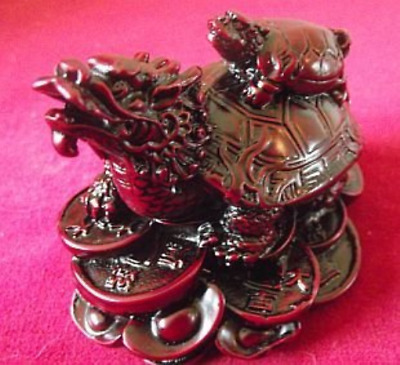 1 X Dragon Headed Turtle in a Dark Red Resin Finish with Baby Turtle on Shell on