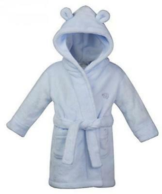 Baby Boys Hooded Supersoft Fleece Bath Robe With Ears Girls Heart Dressing Gown