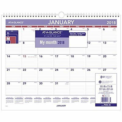 """AT-A-GLANCE Monthly Wall Calendar, January 2018 - December 2018, 15"""" x 12"""","""
