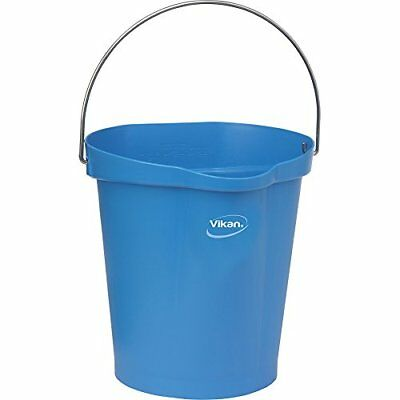 Vikan 56863 Plastic Round Heavy Duty Pail with Stainless Steel Handle, 3 gal,