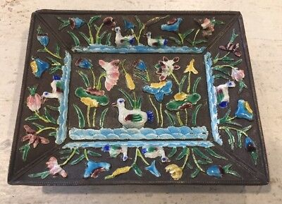 ANTIQUE CHINESE ENAMEL Birds Decorated Silver Tray Plate Signed China Vintage