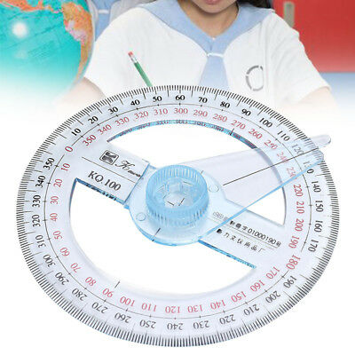 Plastic 360 Degree Protractor Round Ruler Gauge Angular Viewer Education Office