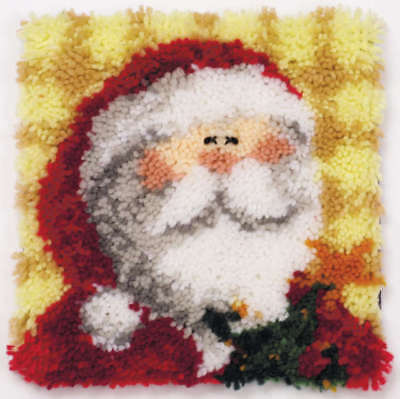 "Latch Hook Kit 12""X12"" Ho Ho Santa Pillow 37731"
