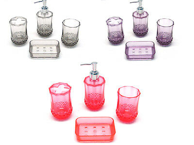 New Fancy 4 Piece Shine Transparent Bath Accessories Set