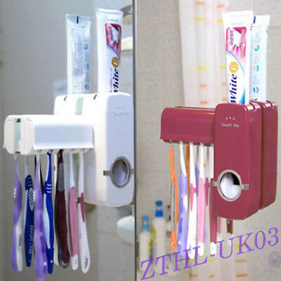 Automatic Toothpaste Dispenser 5 Toothbrush Holder Set Wall Mount Stand Bathroom