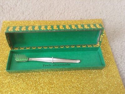 Vintage Towle Silversmiths Baby Toothbrush Original Box Contour TOWLE Sterling