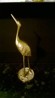 Large Solid Brass  Flamingo  bird wildlife