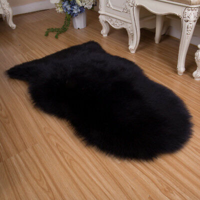 Soft Sheepskin Faux Wool Chair Seat Cover Fur Carpet Pad Solid Mat Home Soft Rug
