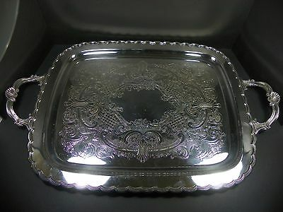 Vintage Birks Primrose Plate Silver Plated Decorative Serving Tray 24""