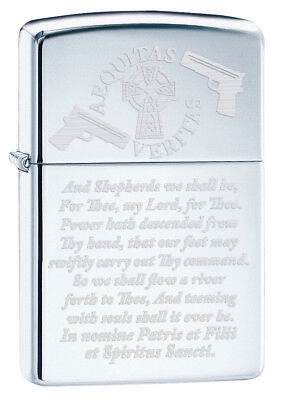 Aequitas Veritas Shepherd Family Prayer Zippo Lighter Mirror Polished Chrome