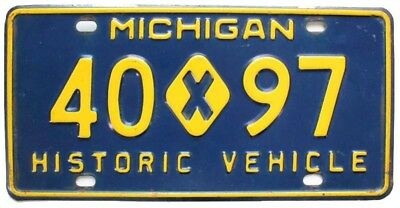 Michigan 1961-1965 HISTORIC VEHICLE License Plate, 40 x 97, Steel, Nice Quality