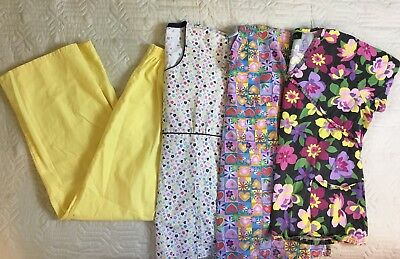 Lot Of 4: Medical Scrubs Shirts Pants Floral Yellow Women Size Large
