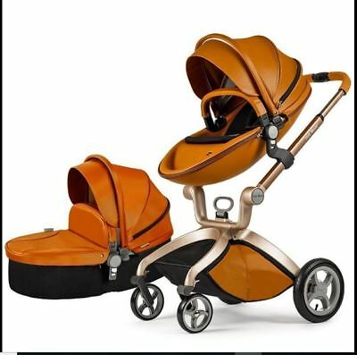 Hot Mom-Pushchair-2017, 3 in 1 Baby Stroller-Travel System Bassinet Brown NEW
