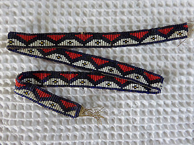 Antique Native American Abenaki Anasagunticook Thunderbolt Beaded Necklace ME