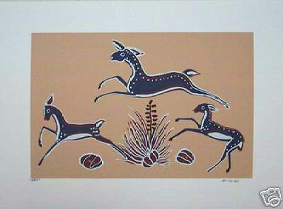 "Ha-So-De (Navajo) ""Leaping Deer"" Navajo serigraph"