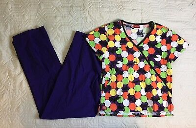 Lot Of 2: Halloween Scrub Set Purple Pants Bat Shirt Scrubs Women XS