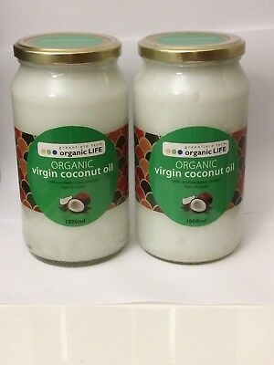 Sale Clearance 2 x 1L Certified Organic Virgin Coconut Oil 1L  - free shipping!
