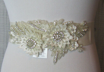 NEW David's Bridal Floral Applique Sash w/ Beaded Embellishments, S1072, Ivory
