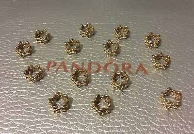 Authentic PANDORA Solid 14K Gold Trinity Flowers Spacers (Sold As A Pair)