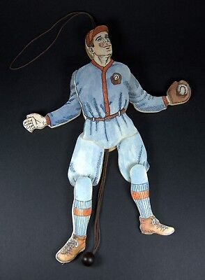 Vintage Wooden Baseball Player Jumping Jack Toy Pull-String Marionette