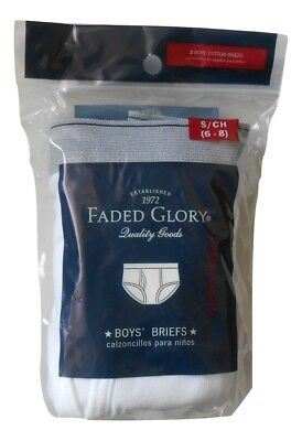 Faded Glory Boy's 3 Pack White 100% Cotton Briefs/Underwear Sz S, M or L New Nwt