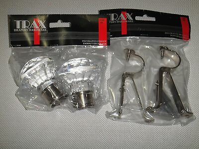 GLASSES  FINIALS BRACKETS SET FITS FOR 1 1/8 [28 mm] DIAM. ROD
