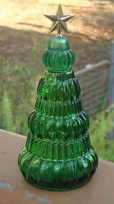 Vintage AVON Christmas Tree Yuletide Moonwind Cologne Green Glass Bottle