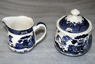 Royal Traditions Blue Willow Sugar w/Cover and Creamer NEVER USED