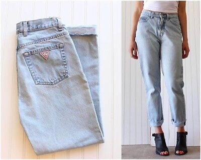 1980's Vintage Guess Women's Blue Denim Jeans Size 29 High Waist Stone Wash Slim