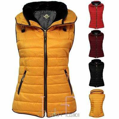 Womens Gilet Quilted Padded Zip Body Warmer Ladies Sleeveless Puffer Jacket Top