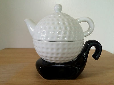 Golf Ball Teapot With Cup Driver Head Black & White