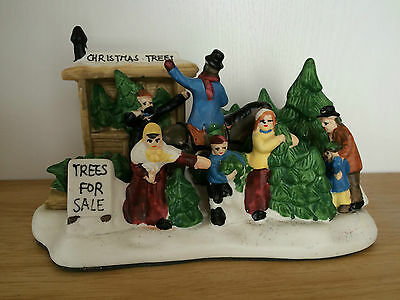 Christmas village town scene ornement trees for sale porcelain holiday decor