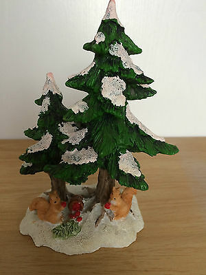 World of Dickens Collectables squirrels under the tree Christmas village scene