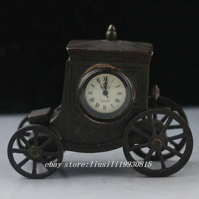 Antiques Old Chinese Brass Handwork Mechanical Carriage Clock