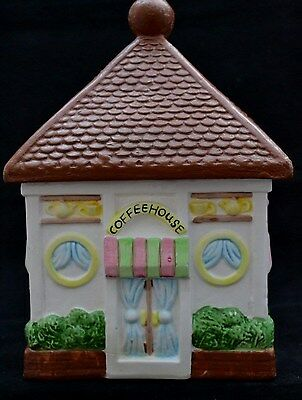 ADORABLE COFFEE HOUSE ~ Ceramic Cookie Jar Raised 3-D Design On All Sides