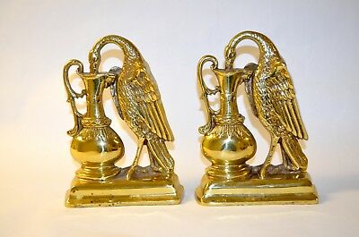 Vintage Heavy Brass Mid Century Pair of Peacock And Urn Bookends