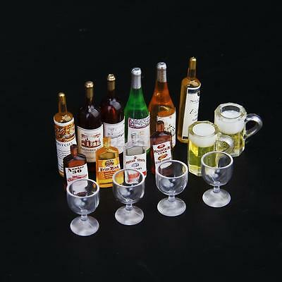 Dollhouse Miniature Wine Drink Whisky Bottles Goblet Beer mug Cups pub bar decor