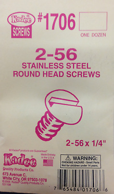"KADEE #1706  2-56 x 1/4"" Stainless Steel Round Head Screws  1 Dozen"