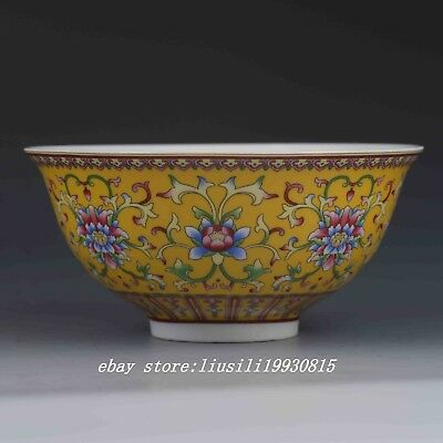 Chinese Porcelain Bowl Hand-painted Flowers w Qianlong Mark G480