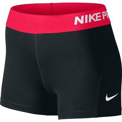 """NWT Nike Pro Cool 3"""" Women's Compression Shorts 725443-033 Black/Racer Pink"""