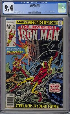 Invincible Iron Man #98 CGC 9.4 NM Wp Vs. Sunfire Marvel Comics 1977 Tony Stark