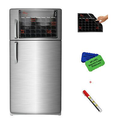 "16"" x 12"" Refrigerator Calendar Monthly Dry Erase Magnetic Flexible Black Board"