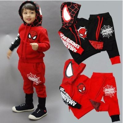 Spiderman Kids Toddler Boy Cotton Outfits Hoodie Tops + Jogger Tracksuit Clothes