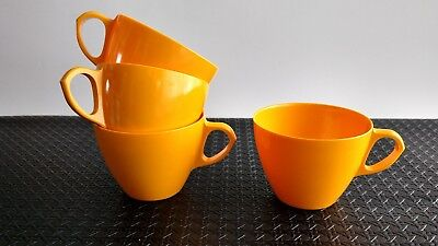 Vintage Genpak Canada Melamine Melmac Cups Warm Yellow Lot of 4 Kitsch Kitchen