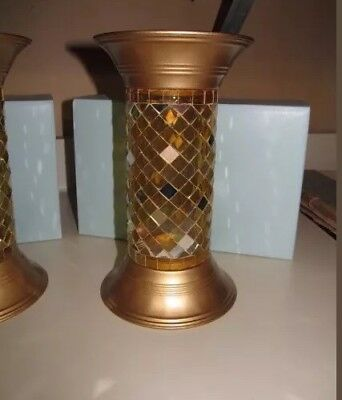Partylite GOLD GLOBAL FUSION MOSAIC COLUMN 9 Inch Pillar/Ball Candle Holder