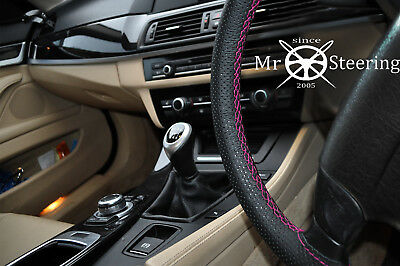 For Nissan Dualis 06+ Perforated Leather Steering Wheel Cover Hot Pink Double St
