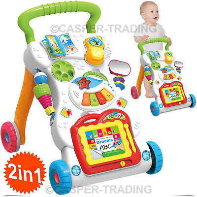 2 In 1 First Steps Baby Walker Toy Music Sounds and Lights Fun Push Along Walker